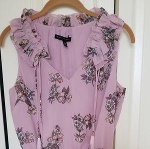 WHBM Pink Floral Sleeveless Romper